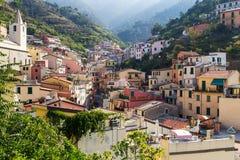 Пейзаж деревни Riomaggiore Стоковая Фотография
