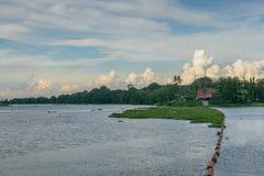 Пейзаж запруды Mae Klong перед заходом солнца в Kanchanaburi, Таиланде стоковое изображение rf