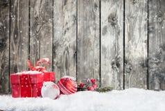 Пейзаж зимы снежный с натюрмортом рождества Стоковое Изображение RF