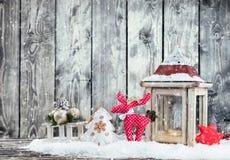 Пейзаж зимы снежный с фонариком Стоковые Фото