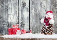 Пейзаж зимы снежный с фонариком Стоковые Фотографии RF