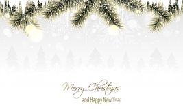 Пейзаж зимы с золотыми ветвями, снежинками, снежностями, сосульками и хвойными деревьями на горизонте С Рождеством Христовым и сч бесплатная иллюстрация