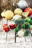Пейзаж зимы с украшениями рождества Стоковые Изображения