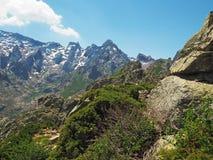 Пейзаж лета высокого снега покрыл горные пики на corsician Стоковые Изображения