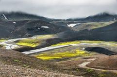 Пейзаж начала мира на F28 дороге, след Fjallabak стоковое фото