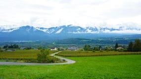 Пейзаж на горном склоне в Европе Стоковые Изображения RF