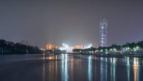 Пейзаж ночи Пекина национальный Olympic Stadium Стоковое фото RF