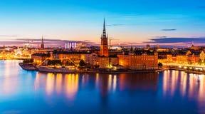 Пейзаж ночи Стокгольм, Швеции стоковое изображение rf