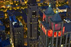 Пейзаж ночи Чикаго Стоковое Изображение RF