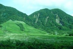 Пейзаж от гористой местности Tsukahara, северная сторона Yufu, сброс давления наклона Стоковое Изображение RF