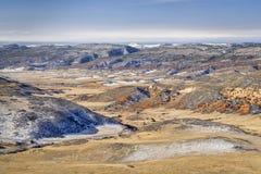 Пейзаж падения или зимы в красном открытом пространстве горы стоковое изображение rf