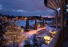 Пейзаж рождества улицы зимы снежный Стоковая Фотография