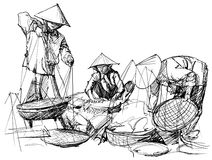 Пейзаж рынка в Вьетнаме бесплатная иллюстрация
