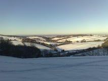 Пейзаж снега в зиме Стоковые Изображения