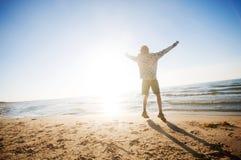 пейзаж счастья пляжа стоковая фотография rf