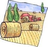 Пейзаж с связками сена и трактором Стоковые Фотографии RF