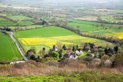 Пейзаж холмов Malvern панорамный в английской сельской местности Стоковое фото RF