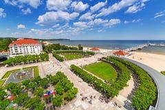 Пейзаж molo Sopot на Балтийском море в Польше Стоковые Изображения