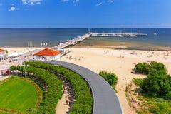 Пейзаж molo Sopot на Балтийском море в Польше стоковые фото