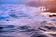 Пейзаж Qingdao, пляж, заход солнца стоковая фотография