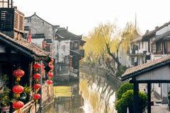 Пейзаж Xitang старый Watertown в утре Стоковая Фотография RF