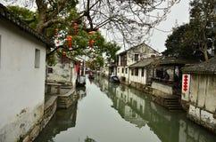 Пейзаж Zhouzhuang на Сучжоу, Китае в зиме Стоковая Фотография RF