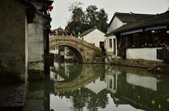 Пейзаж Zhouzhuang на Сучжоу, Китае в зиме Стоковое Фото