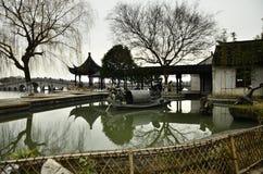 Пейзаж Zhouzhuang на Сучжоу, Китае в зиме Стоковые Изображения RF