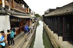 Пейзаж Zhouzhuang на Сучжоу, Китае в зиме Стоковая Фотография