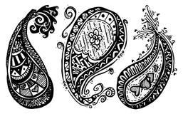 Пейсли нарисованное рукой Стоковое Фото