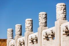 Пекин запретный город, каменный высекая усовик и ¼ Œin Китай headï дракона Стоковые Изображения RF