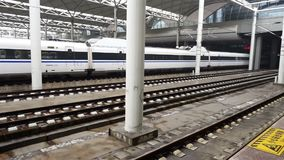 Пекин, Китай, 25-ое марта 2017, высокоскоростной рельс в sation, Пекин сток-видео