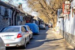 ПЕКИН, КИТАЙ - 10-ОЕ МАРТА 2016: Старое hutong Пекина со своим Стоковая Фотография RF