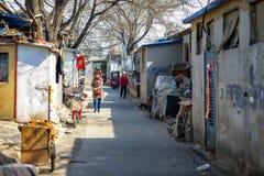 ПЕКИН, КИТАЙ - 14-ОЕ МАРТА 2016: Старое hutong Пекина со своим Стоковое Изображение