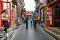 ПЕКИН, КИТАЙ - 12-ОЕ МАРТА 2016: Старое hutong Пекина со своим Стоковое Фото