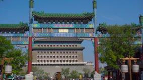 Пекин, Китай: 29-ое октября 2018: Торговый центр главной улицы Quinmen Запретный город в центре Пекин Идти видеоматериал