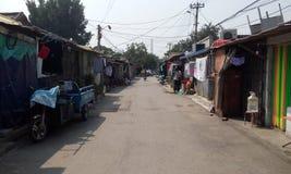 Пекин, трущобы, подрывание, деревня и трущобы, загрязнение, загрязнение воды, туалет, старые дома, бунгала, favela, сточная канав Стоковое фото RF