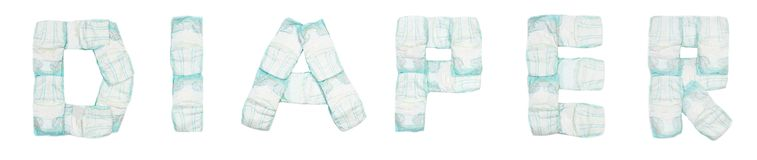 Пеленка слова клала вне пеленки младенца на белую предпосылку, изолят, салфетку, надпись стоковые изображения