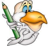 Пеликан и crayon Стоковое Изображение