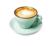 Пена капучино, взгляд сверху кофейной чашки на белой предпосылке Стоковое Изображение