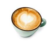 Пена капучино, взгляд сверху кофейной чашки на белой предпосылке Стоковая Фотография RF