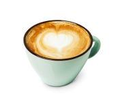 Пена капучино, взгляд сверху кофейной чашки на белой предпосылке Стоковые Изображения