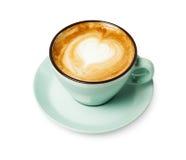 Пена капучино, взгляд сверху кофейной чашки на белой предпосылке Стоковое Фото
