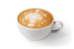 Пена капучино, кофейная чашка изолированная на белой предпосылке Стоковые Фото
