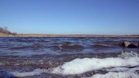 Пена развевает на речном береге Нижний взгляд акции видеоматериалы