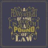 Пенни-вес влюбленности стоимость фунт закона - английского языка говоря - винтажный дизайн плаката стиля иллюстрация вектора