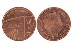 пенни монетки одного Стоковые Фотографии RF