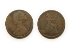 пенни монетки одного Стоковое Фото
