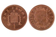 пенни монетки одного Стоковое Изображение