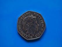 20 пенни чеканят, Великобритания в Лондоне над синью Стоковое Изображение